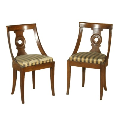 Pair of Walnut Gondola Chairs with Saber Legs Italy Early 19th Century