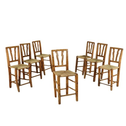Group of 7 Rustic Poplar Chairs with Straw Seats Italy 19th Century