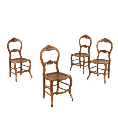 Elegant Group of Four Finely Carved Cherry Chairs Italy Mid 19 Century