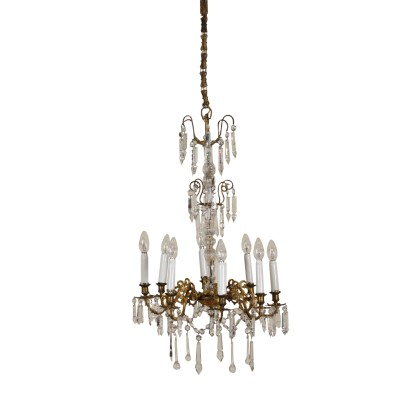 Eight-Arm Chandelier Gilded Bronze Glass Crystal Italy 19th Century