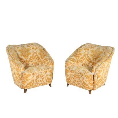 Pair of Armchairs Springs Fabric Vintage Italy 1950s