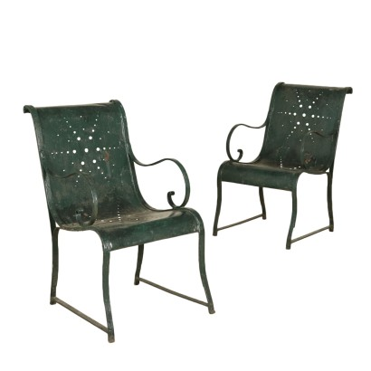 Pair of Enamelled Iron Armchairs Italy 19th Century