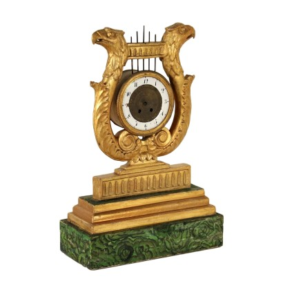 Carved and Gilded Wooden Lyre Clock France Early 19th Century