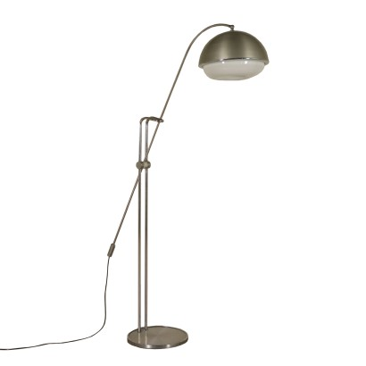 Floor Lamp Chromed Metal Aluminium Methacrylate Italy 1960s-1970s