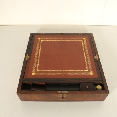 Antique Travel Writing Desk Mahogany Veneer Italy Late 1800s