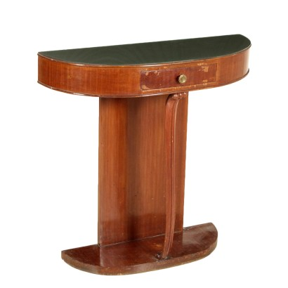 Wall Mounted Console Table Mahogany Veneer Glass Vintage Italy 1950s