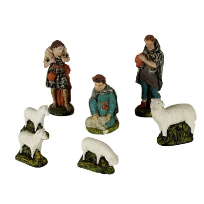 Nativity Statues Gypsum Shepherds and Sheep Italy Early 1900s