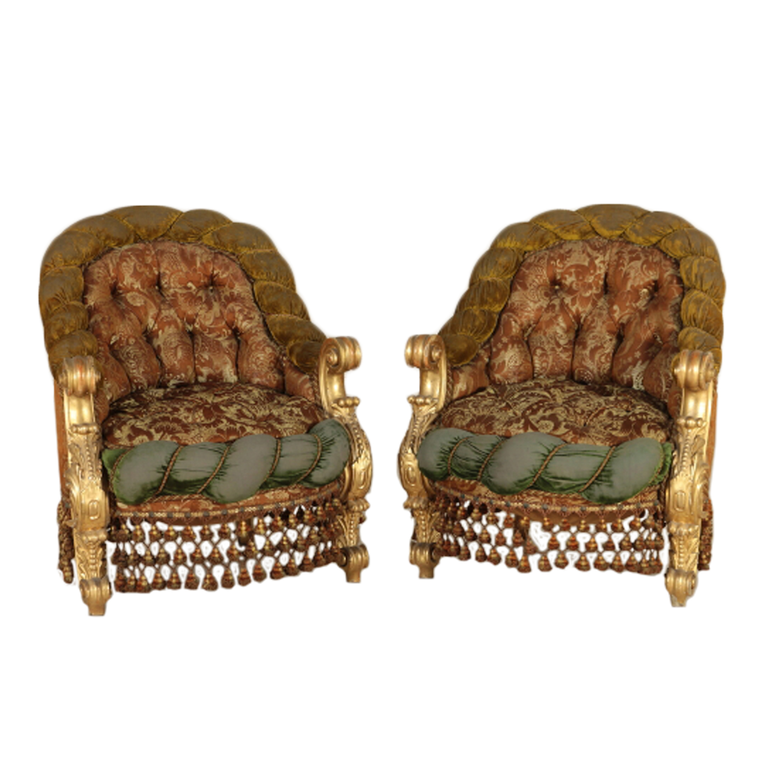 Coppia di poltrone in stile barocco sedie poltrone for Poltrone sedie