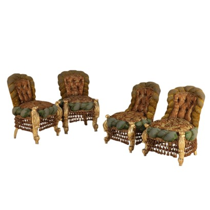 Four Baroque Style Chairs Capitonné Padding Velvet Satin Damask 1800
