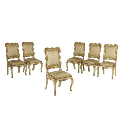 6 Chairs Ivory Lacquered Carved and Gilded Italy First Half 1800
