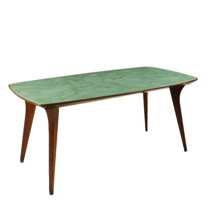 Table Solid Mahogany Back-Treated Glass Vintage 1950s-1960s