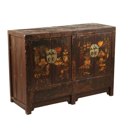Oriental Cupboard Lacquered Wood Metal East 20th Century