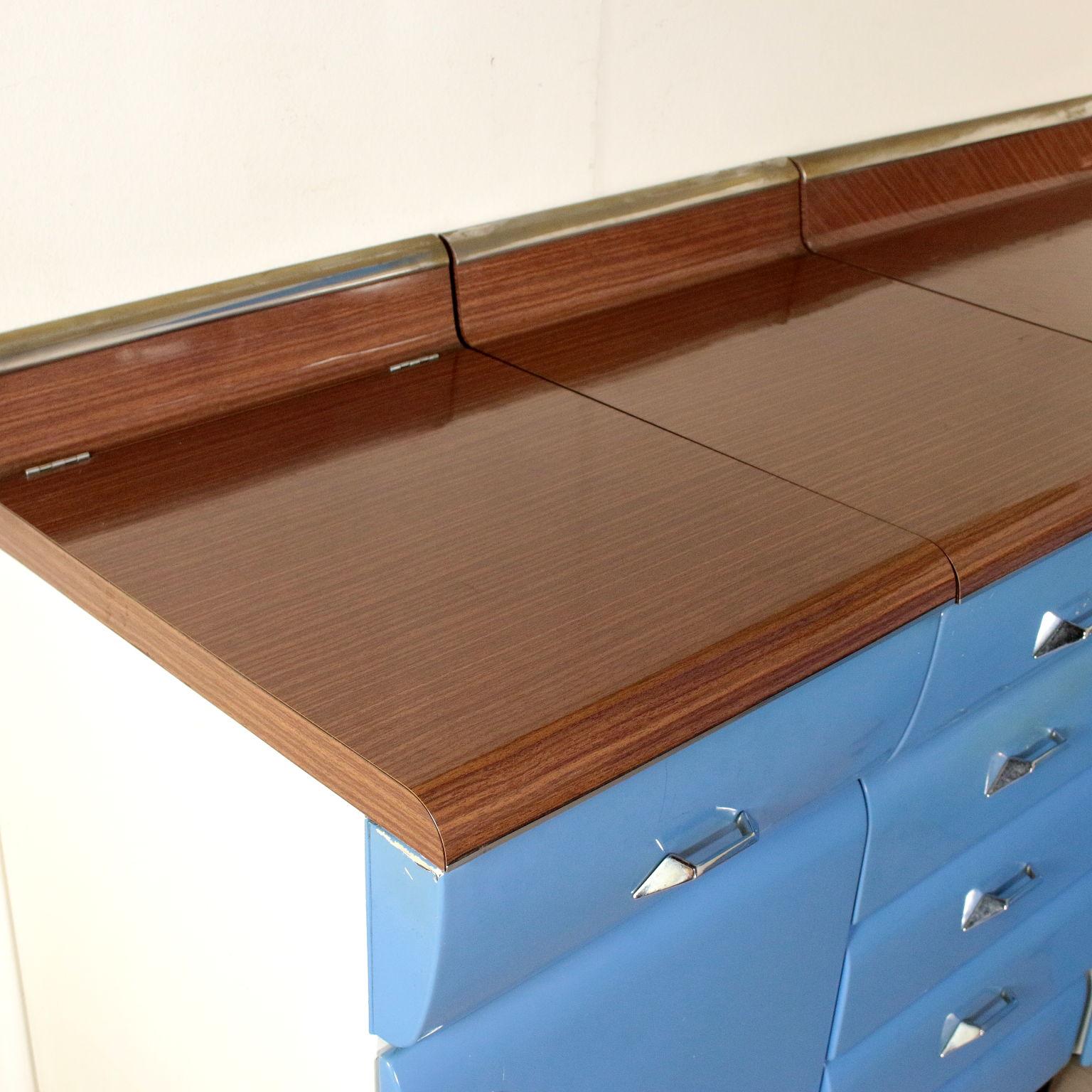 meubles de cuisine métal laqué bois formica vintage italie années 60