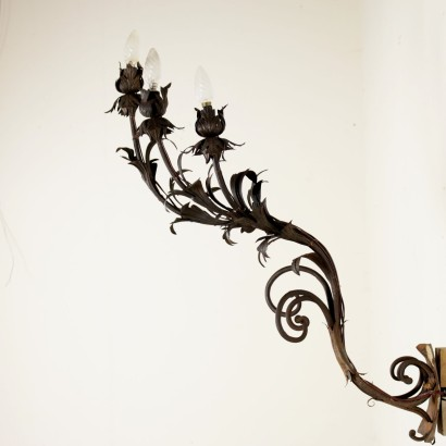 Wall Light Wrought Iron Sheet Italy Early 1900s