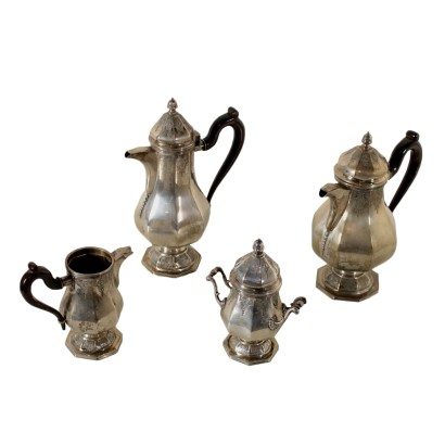 Silver Tea and Coffee Set Pannelli & Burnazzi Milan Italy 1960s
