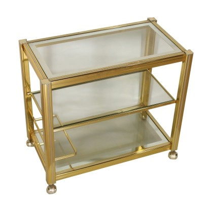 Brass and Glass Service Cart Vintage Italy 1980s