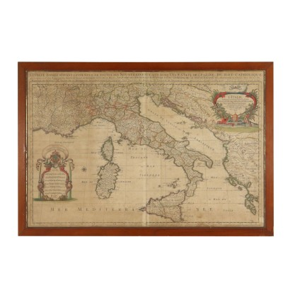 Map of Italy in the 12th Century from Drawing by Sanson Nicolas 1696