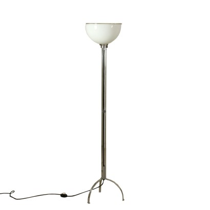 Floor Lamp Chromed Metal Opaline Glass Vintage Italy 1970s-1980s