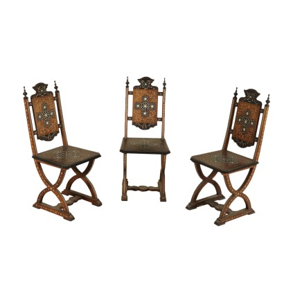 Set of Three Inlaid Chairs Walnut Ivory Inlays Italy 1800s
