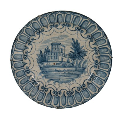 Majolica Plate White Blue Manufactured in Italy Late 1800s