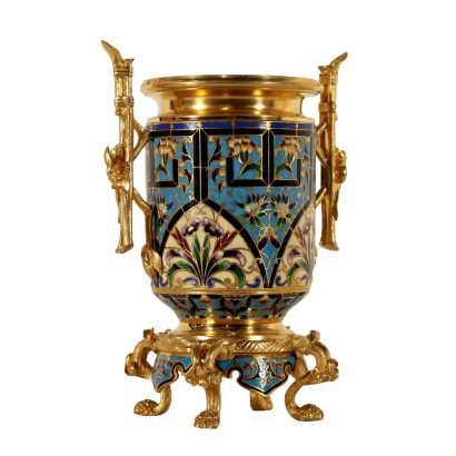 Gilded Bronze Flower Pot Enamel Decoration France Late 19th Century