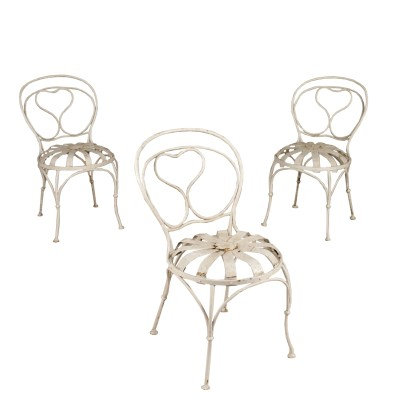 Set of Three Iron Chairs White Glaze Italy First Half of 1900s