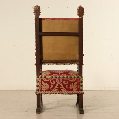 Throne with Gilded Flames Walnut Silk Italy First Quarter of 1700s