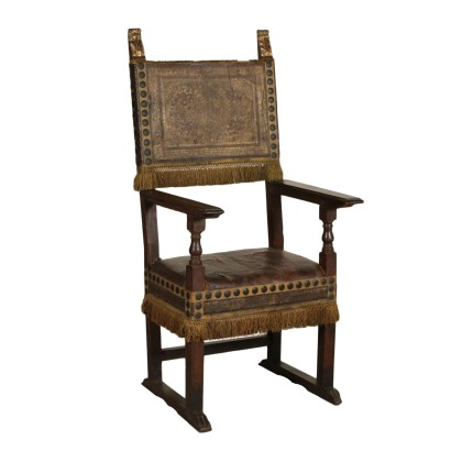 Large Walnut Highchair Leather Italy First Half of 1700s
