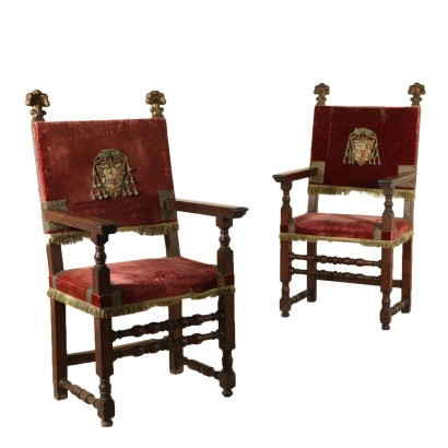 Pair of Walnut Highchairs Manufactured in Italy Early 1700s