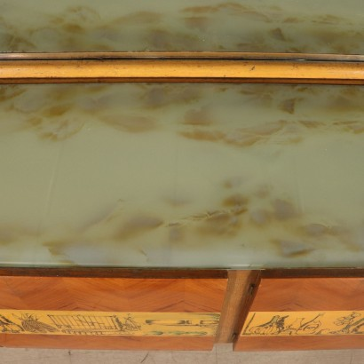Buffet with Mirror Oak Mahogany Vintage Italy 1950s-1960s