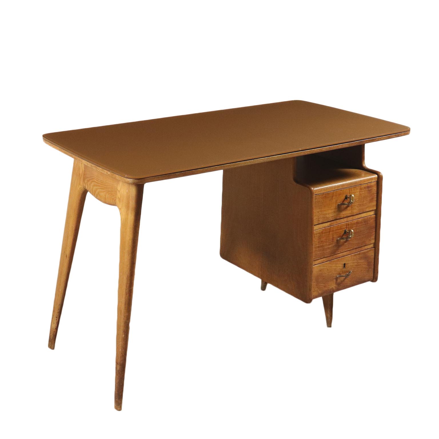 Writing Desk Oak Veneer Back Treated Glass Vintage Italy 1950s
