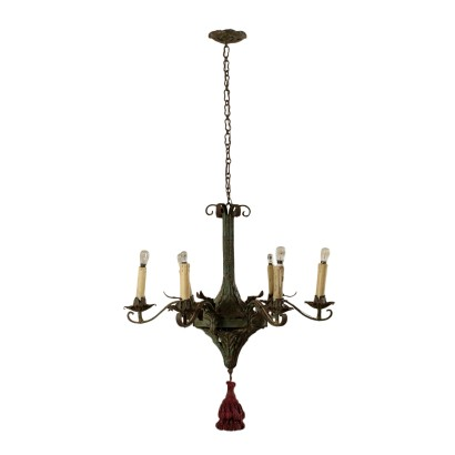 Metal Sheet Chandelier Six Arms Italy Early 1900s