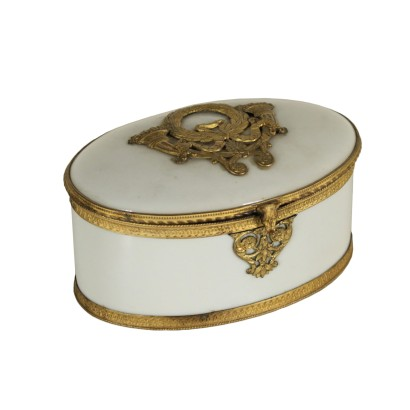 White Porcelain Box Gilded Bronze Italy 19th Century