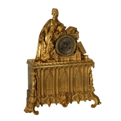 Neo-Gothic Table Clock Gilded Bronze France Mid 19th Century