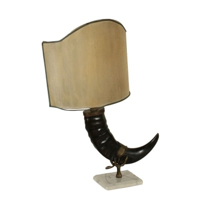 Table Lamp Animal Horn White Marble Base 20th Century