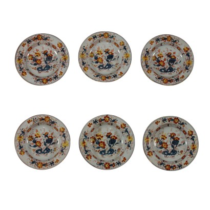 Six Polychrome Majolica Plates Milan Italy Second Half of 1700s