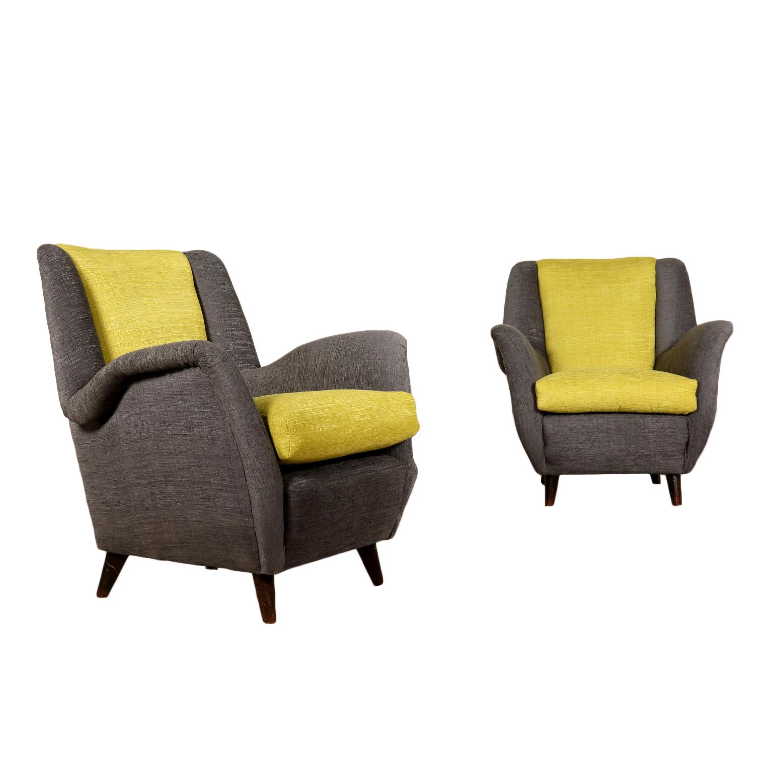 Ein Paar Sessel Stoff Vintage Italien 50er Jahre
