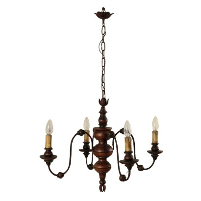 Chandelier Four Arms Iron Wood Italy Mid 1900s