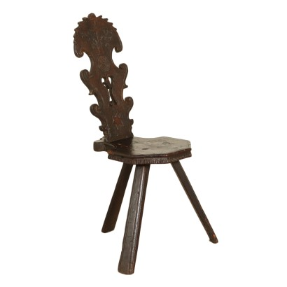 Chestnut and Walnut Stool Manufactured in Italy 18th Century
