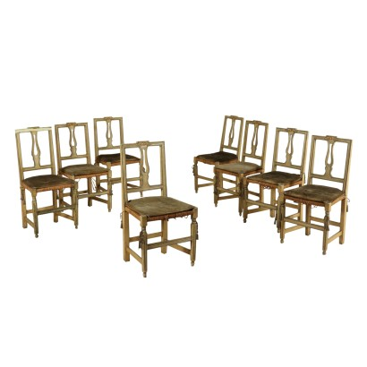 Set of Eight Carved Lacquered Walnut Chairs Italy 1700s