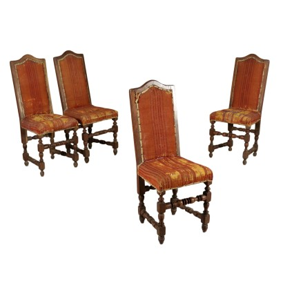Four Spool Walnut Chairs Italy First Half of 1700s