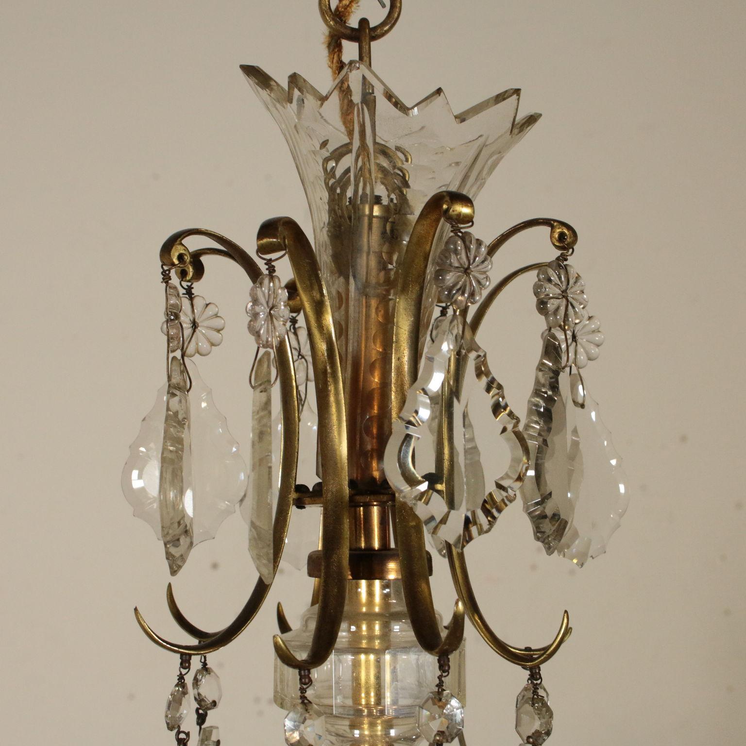 Lampadario In Ottone E Cristallo.Lampadario Ottone E Cristallo Illuminazione Bottega Del 900