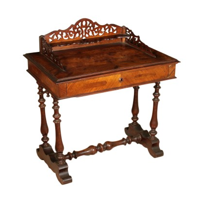 Walnut Writing Desk Manufactured in Italy Second Half of 1800s