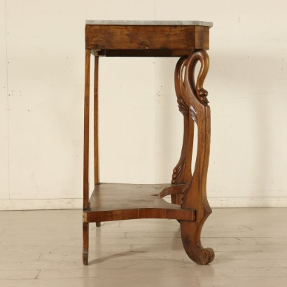 Console Table with Carved Swans Walnut Italy 19th Century