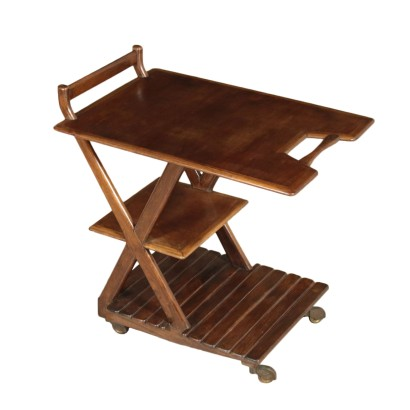 Service Cart Stained Beech Wood Vintage Manufactured in Italy 1940s