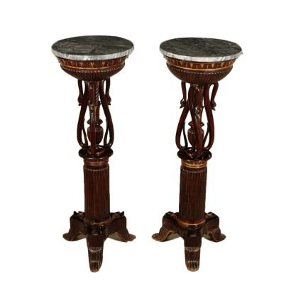 Pair of Restoration Mahogany Gueridons Italy First Quarter of 1800s