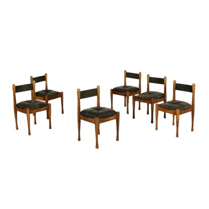 Set of Chairs by Silvio Coppola Beech Leather Vintage Italy 1960s