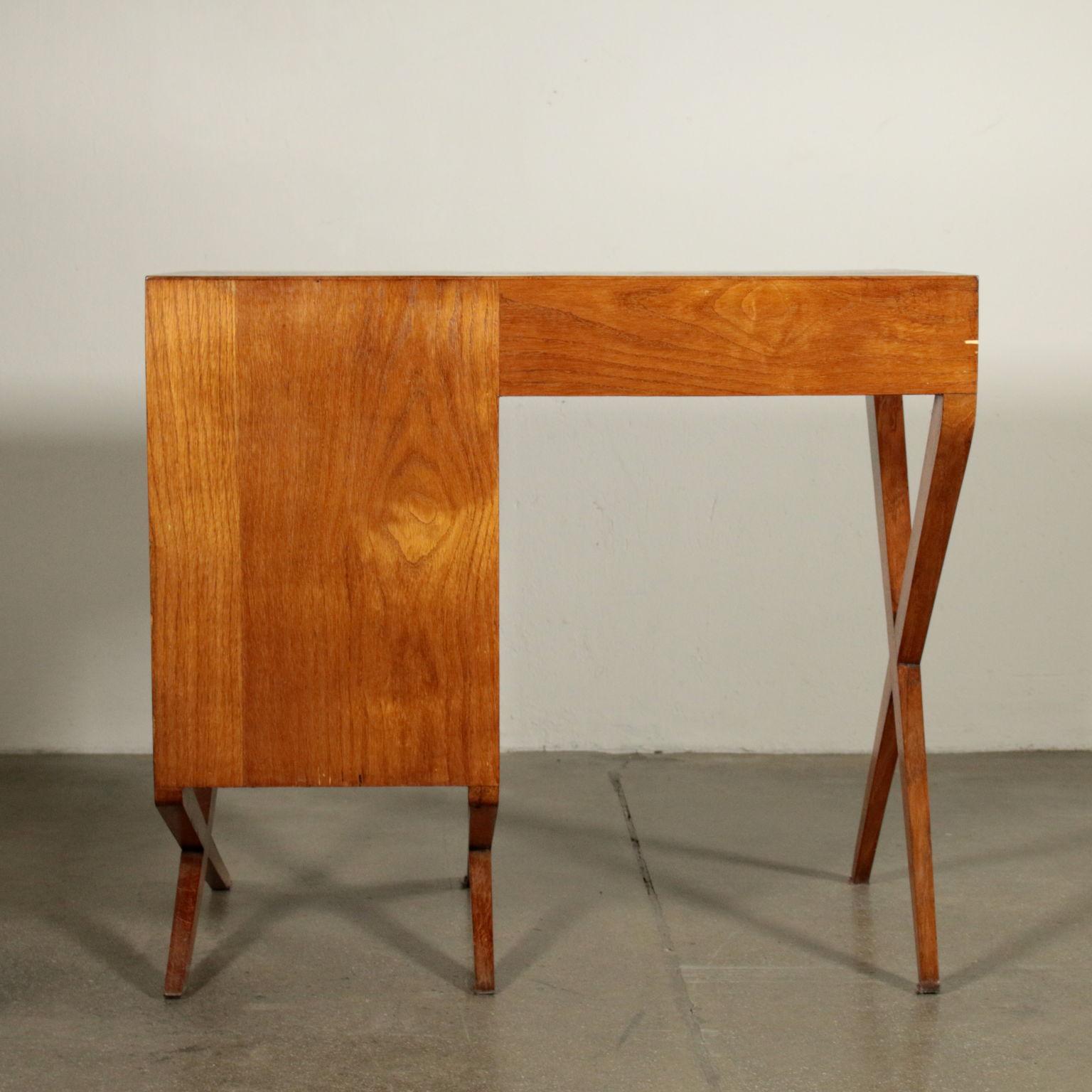 Writing Desk Solid Oak Veneered Wood Vintage Italy 1950s Tables