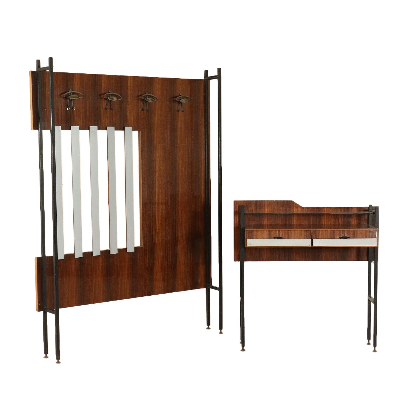 Hallway furniture rosewood veneer vintage italy 1960s