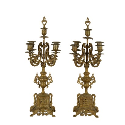Pair of Candlesticks Gilded Bronze Italy Late 1800s